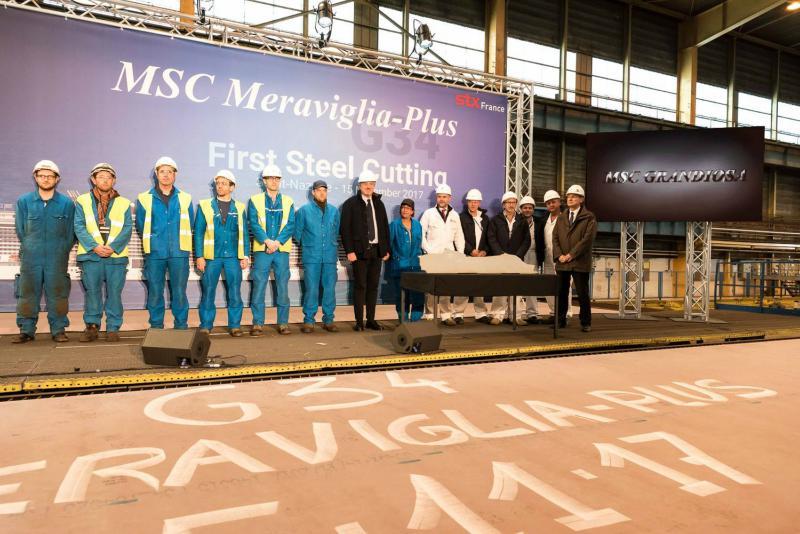 Ceremonia del primer corte de acero del MSC Grandiosa