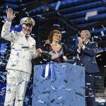 Captain Scala, Sophia Loren and Pierfrancesco Vago Celebrating the Inauguration of MSC Seaside
