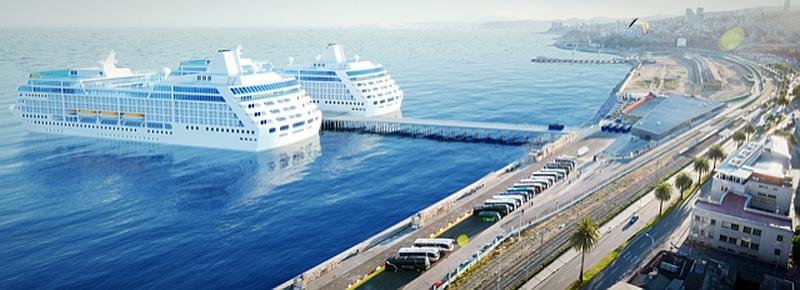 Muelle de cruceros propuesto por Agunsa para ser construido en Valparaíso