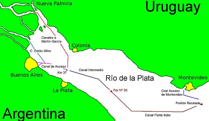 Canales en el Río de la Plata