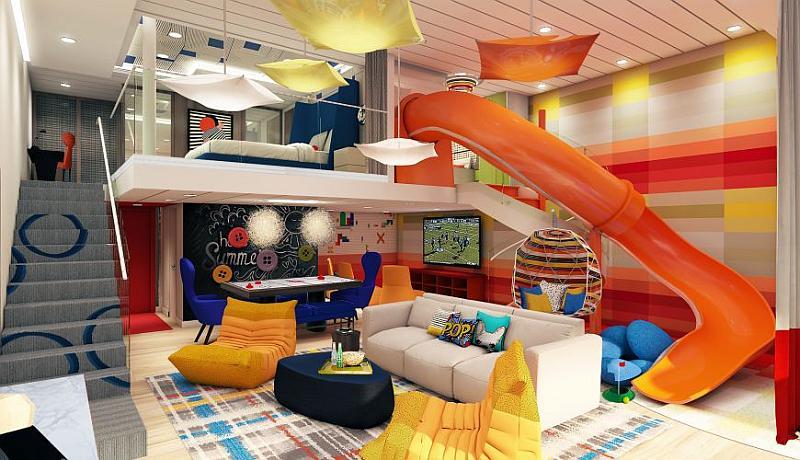"""La suite Royal Ultimate Family, colorida y algo """"loca"""" como la definió Michael Bayleys"""