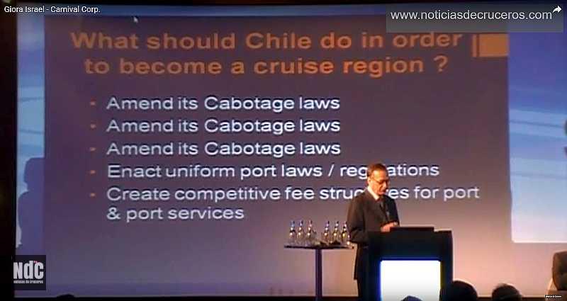 Giora Israel destacando la importancia de la modificación de la Ley de Cabotaje durante su exposición en la Seatrade Latin America de 2013