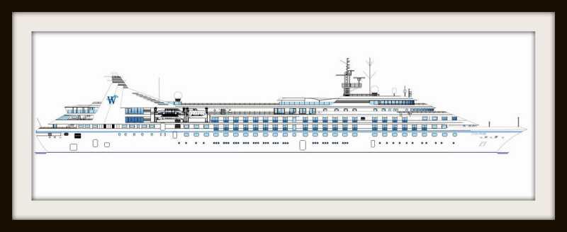 Boceto de una nave de Windstar de la clase Star, con sus nuevas dimensiones.