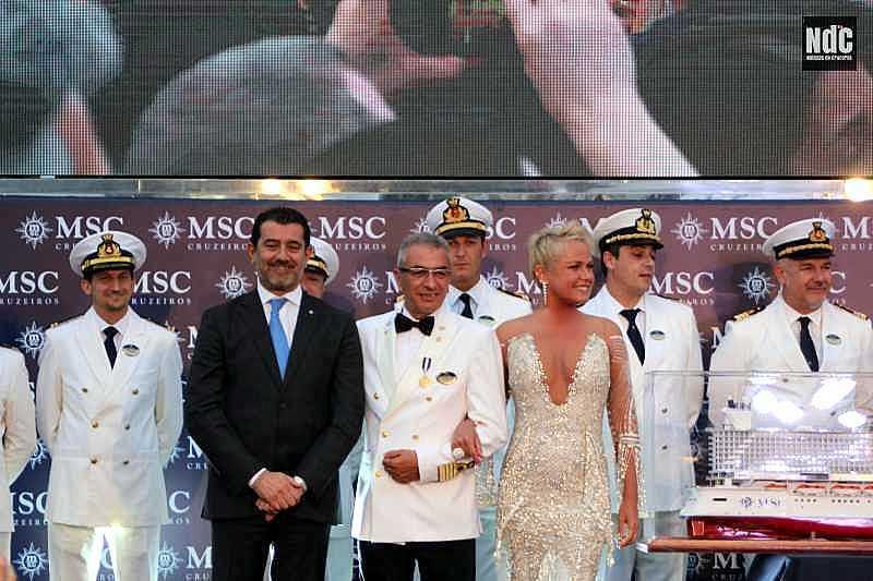 Gianni Onorato, Giuseppe Galano y Xuxa en el bautismo brasileño del MSC Seaview