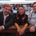 Los tres integrantes de Noticias de Cruceros TV, Ricardo Marengo, Salomé Areco y Juan Carlos Acero.