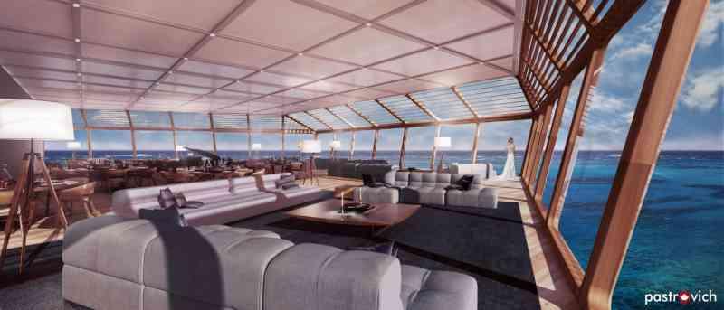 Grandes ventanales para integrar el entorno natural al gran lounge