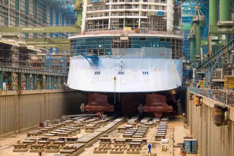 El Odyssey of the Seas, actualmente en construcción en el astillero Meyer de Papenburg